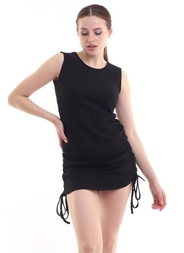 Cottonmood 21252438 Kalın Fitilli Eteği Biyeli Kolsuz Elbise SIYAH Siyah